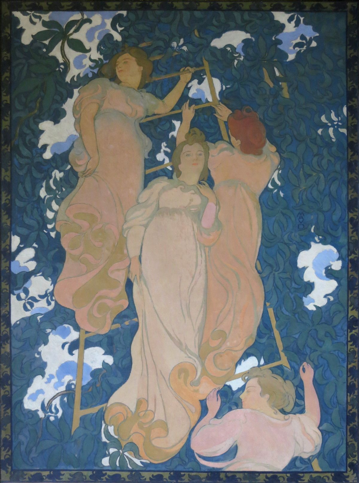 Image by French artist Maurice Denis of women climbing a ladder.