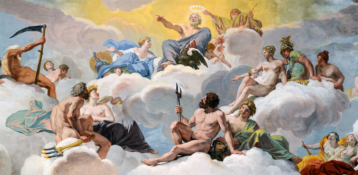 Painting of the Council of the Gods, 1624 to 1625. Galleria Borghese.