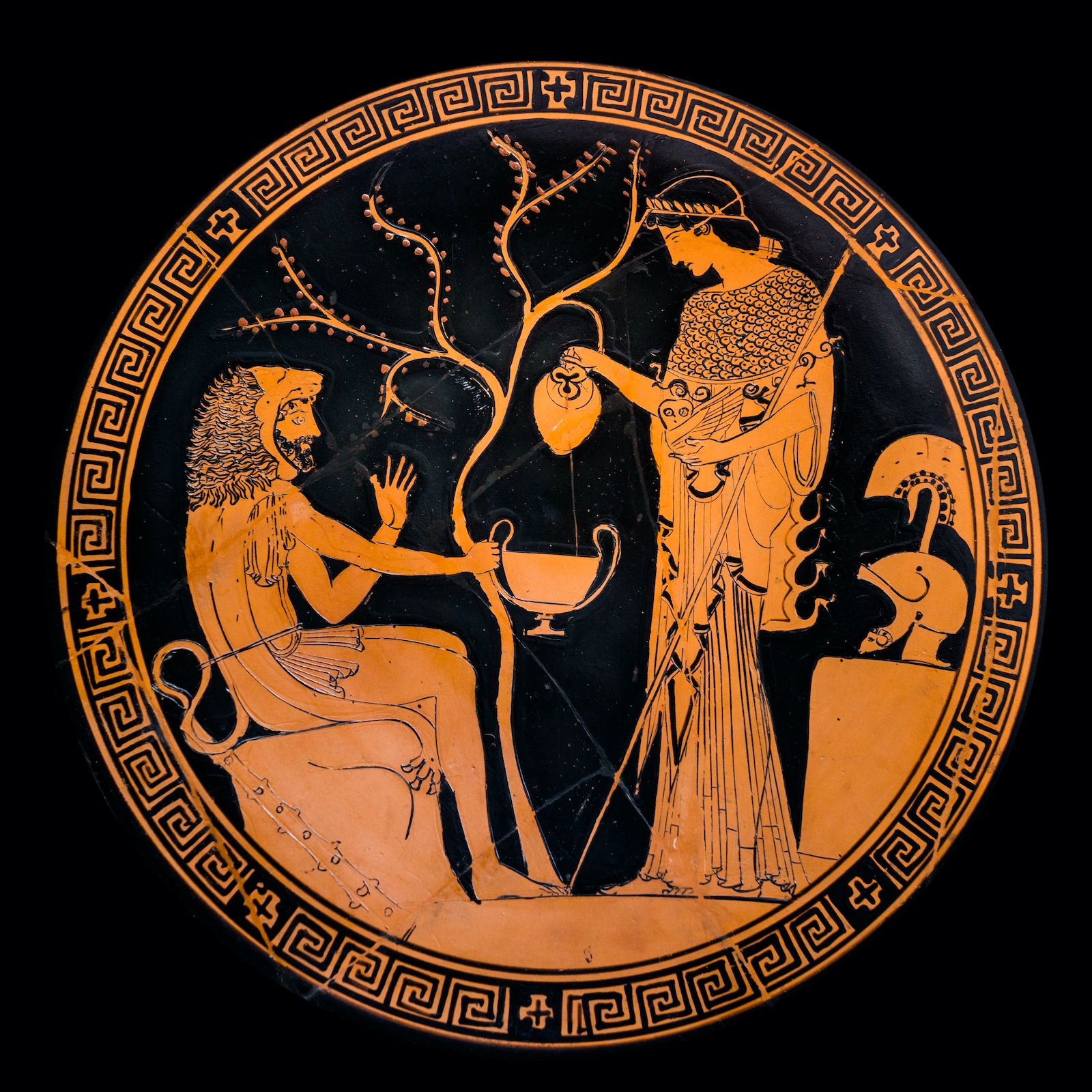 Ancient greek pottery with image of Athena