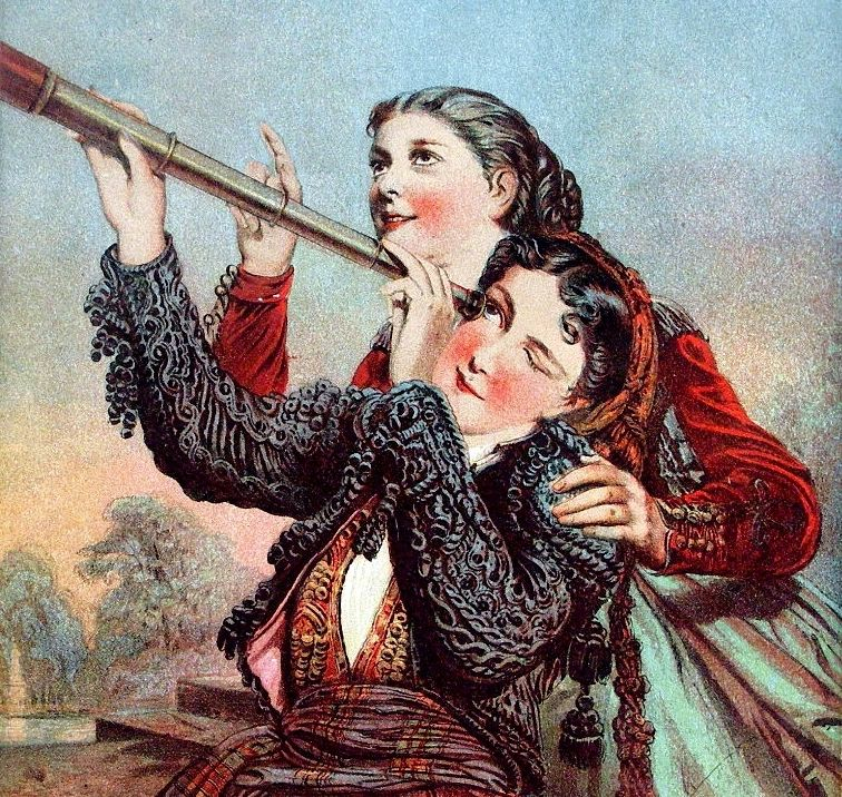 Two women with a telescope.