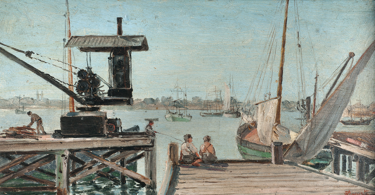 Painting of a harbour with boats.